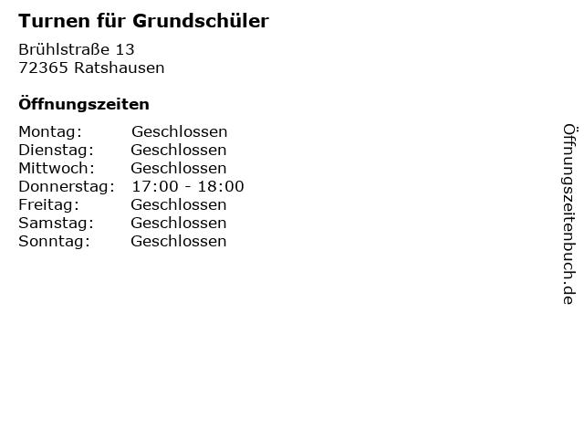 Turnen für Grundschüler in Ratshausen: Adresse und Öffnungszeiten