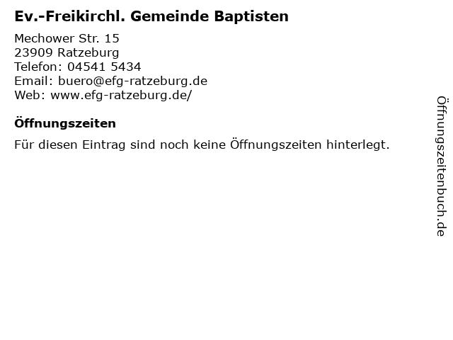 Ev.-Freikirchl. Gemeinde Baptisten in Ratzeburg: Adresse und Öffnungszeiten