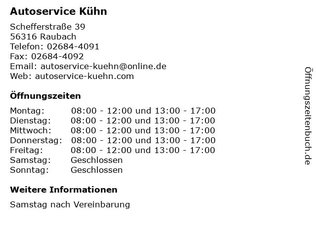 Autoservice Kühn in Raubach: Adresse und Öffnungszeiten