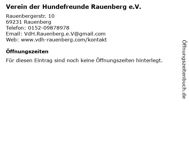 VdH Rauenberg - Verein der Hundefreunde Rauenberg e.V. in Rauenberg: Adresse und Öffnungszeiten