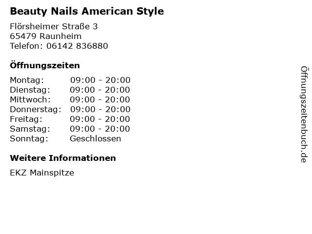 Beauty Nails American Style in Raunheim: Adresse und Öffnungszeiten