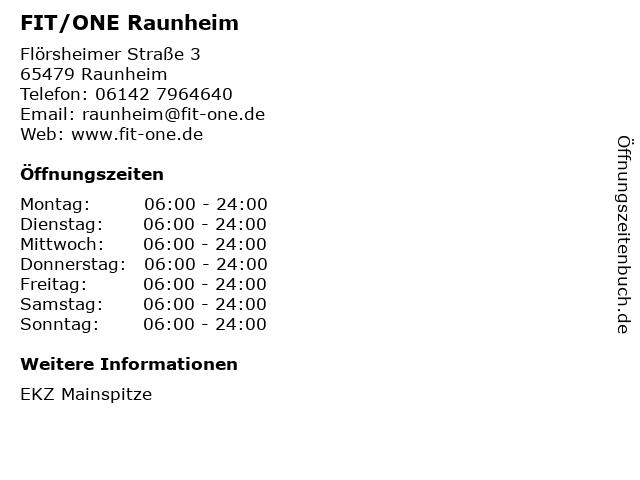 FIT/ONE Raunheim in Raunheim: Adresse und Öffnungszeiten