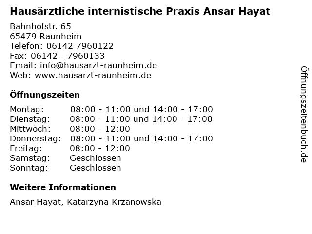 Hausärztliche internistische Praxis Ansar Hayat in Raunheim: Adresse und Öffnungszeiten