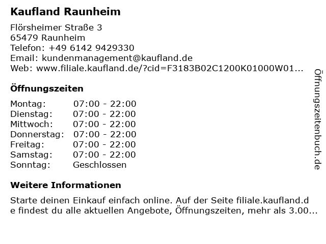 Kaufland Raunheim, EKZ Mainspitze in Raunheim: Adresse und Öffnungszeiten