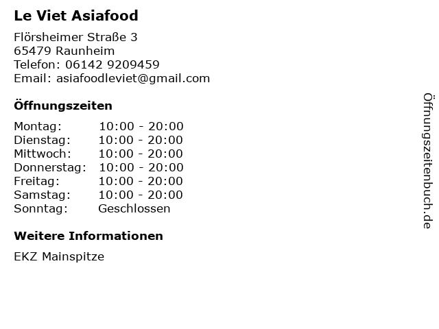Le Viet Asiafood in Raunheim: Adresse und Öffnungszeiten