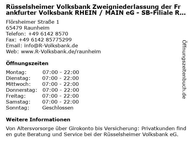 Rüsselsheimer Volksbank eG -SB Filiale Raunheim- in Raunheim: Adresse und Öffnungszeiten