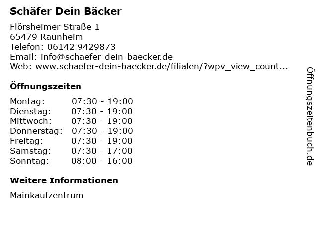 Schäfer Dein Bäcker GmbH & Co. KG in Raunheim: Adresse und Öffnungszeiten