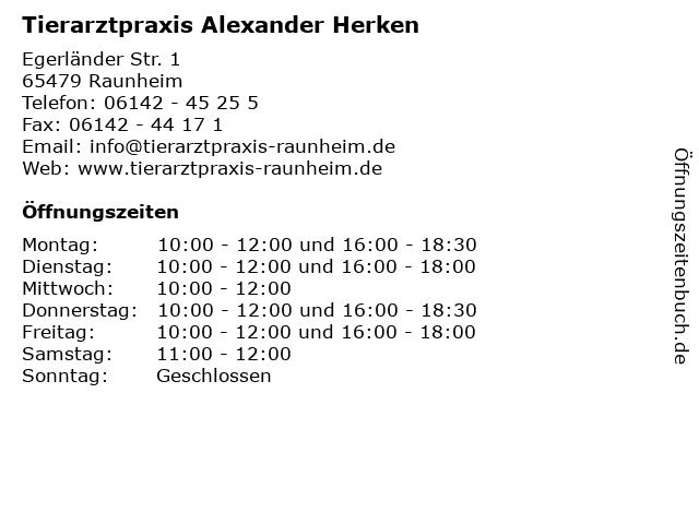 Tierarztpraxis Alexander Herken in Raunheim: Adresse und Öffnungszeiten