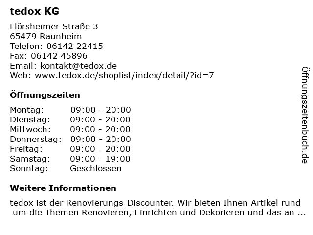 tedox KG in Raunheim: Adresse und Öffnungszeiten