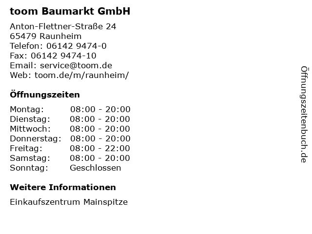 toom Baumarkt GmbH in Raunheim: Adresse und Öffnungszeiten
