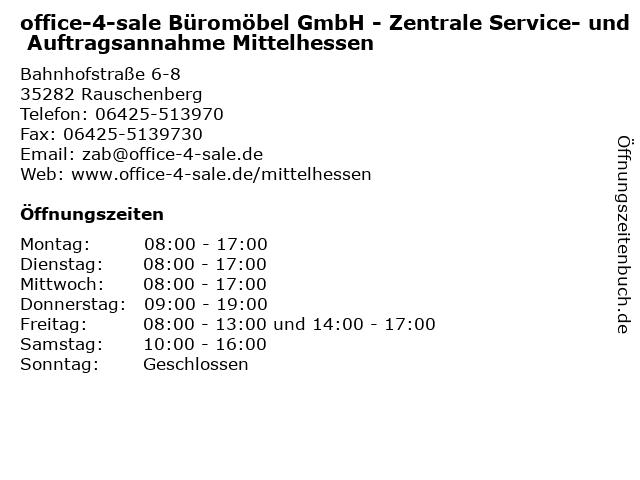 ᐅ öffnungszeiten Office 4 Sale Büromöbel Gmbh Zentrale Service