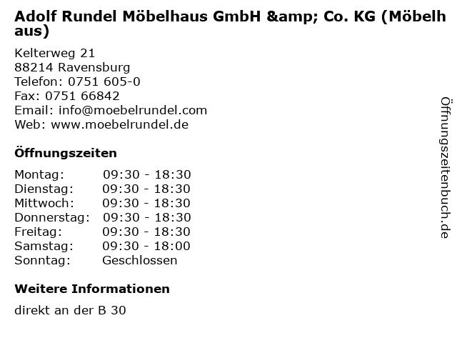 """ᐅ Öffnungszeiten """"Adolf Rundel Möbelhaus GmbH & Co. KG ..."""
