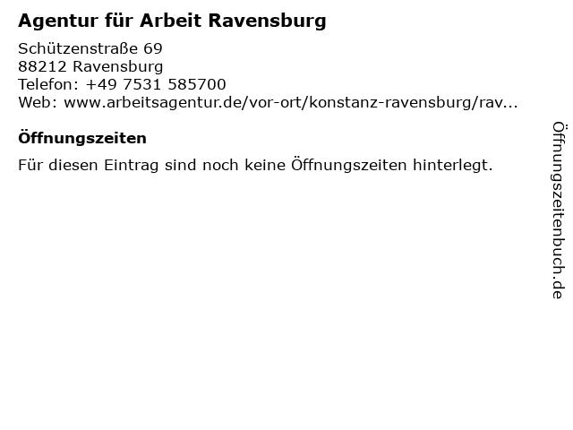 Agentur für Arbeit Ravensburg in Ravensburg: Adresse und Öffnungszeiten