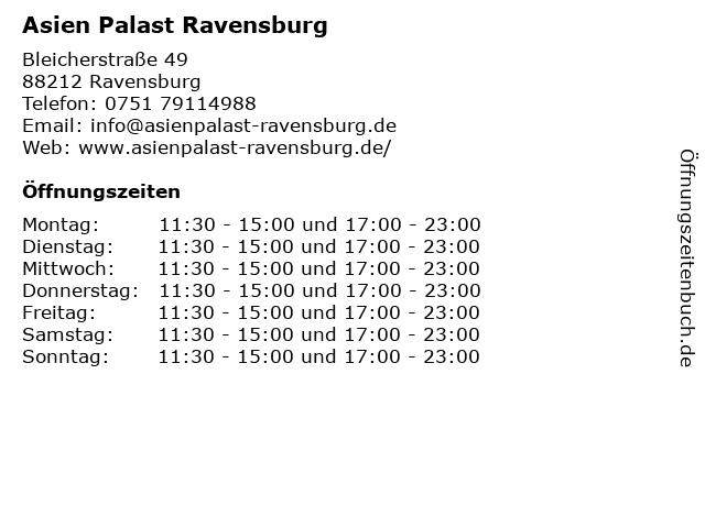 Asien Palast Ravensburg in Ravensburg: Adresse und Öffnungszeiten