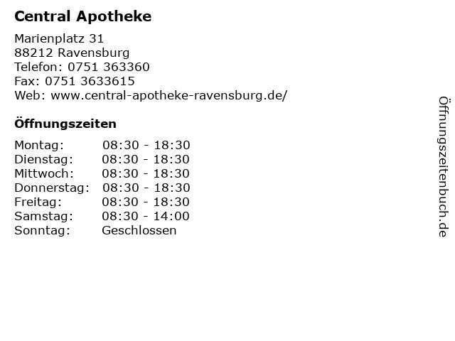 Central Apotheke in Ravensburg: Adresse und Öffnungszeiten