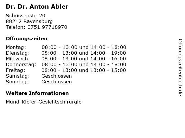 Dr. Dr. Anton Abler in Ravensburg: Adresse und Öffnungszeiten