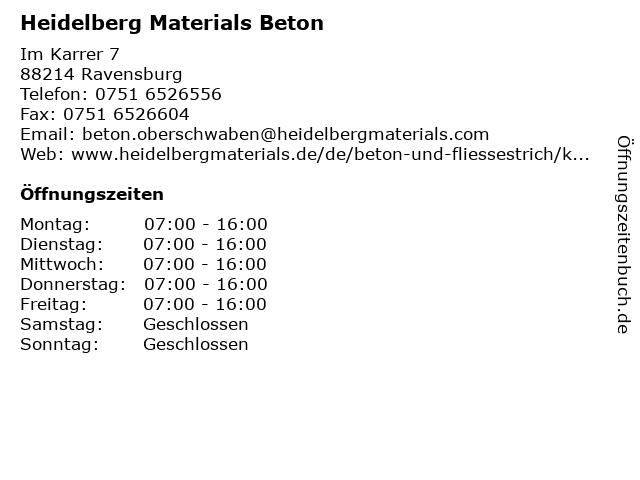 Heidelberger Beton GmbH in Ravensburg: Adresse und Öffnungszeiten