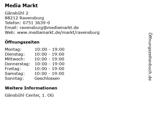 Media Markt TV-Hifi-Elektro GmbH in Ravensburg: Adresse und Öffnungszeiten