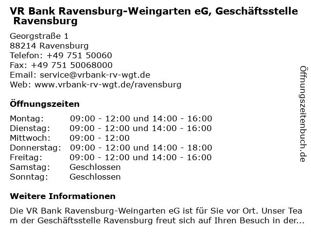 ᐅ Offnungszeiten Vr Bank Ravensburg Weingarten Eg