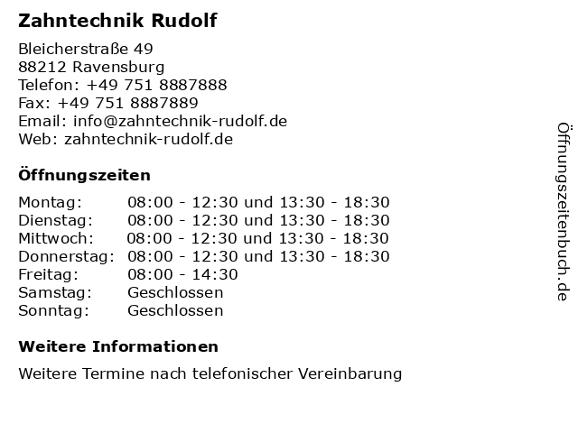 Zahntechnik Rudolf in Ravensburg: Adresse und Öffnungszeiten