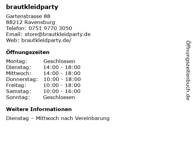 ᐅ Offnungszeiten Brautkleidparty Gartenstrasse 88 In Ravensburg