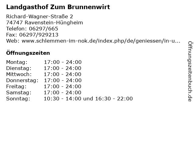Landgasthof Zum Brunnenwirt in Ravenstein-Hüngheim: Adresse und Öffnungszeiten