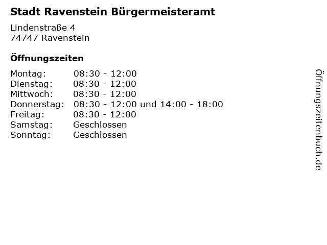 Stadt Ravenstein Bürgermeisteramt in Ravenstein: Adresse und Öffnungszeiten
