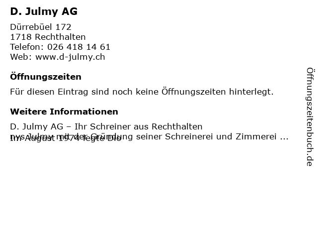 D. Julmy AG in Rechthalten: Adresse und Öffnungszeiten
