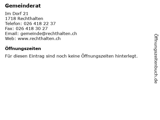 Gemeinderat in Rechthalten: Adresse und Öffnungszeiten