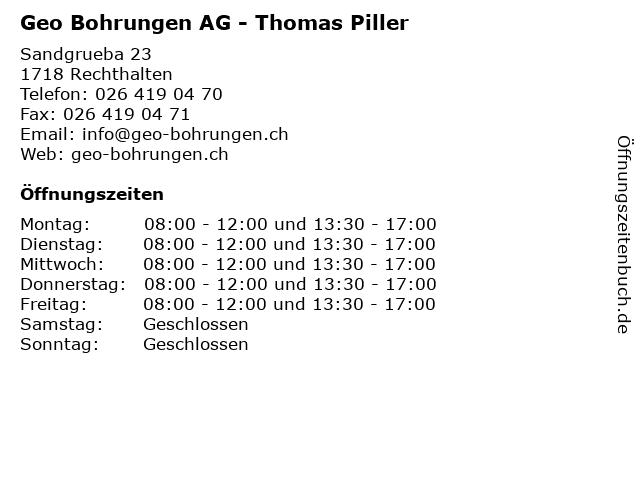Geo Bohrungen AG - Thomas Piller in Rechthalten: Adresse und Öffnungszeiten