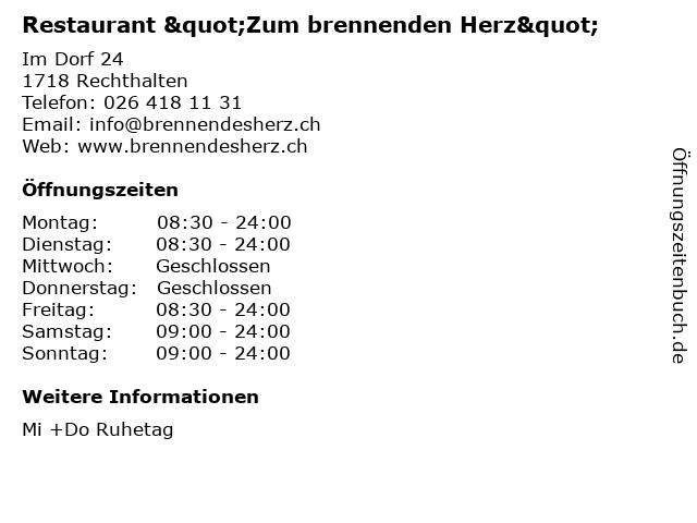 """Restaurant """"Zum brennenden Herz"""" in Rechthalten: Adresse und Öffnungszeiten"""