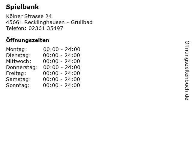 Spielbank in Recklinghausen - Grullbad: Adresse und Öffnungszeiten