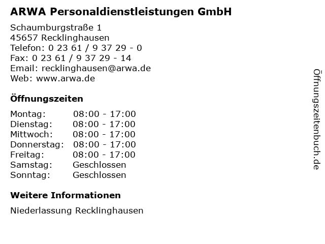 ARWA Personaldienstleistungen GmbH in Recklinghausen: Adresse und Öffnungszeiten