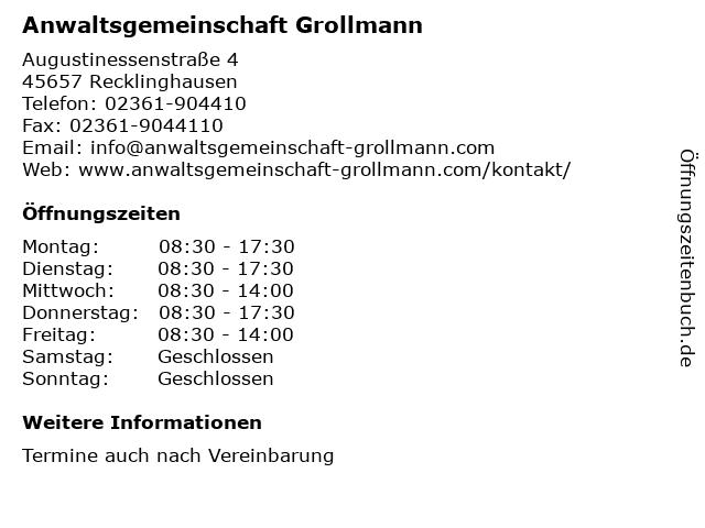 Anwaltsgemeinschaft Grollmann in Recklinghausen: Adresse und Öffnungszeiten