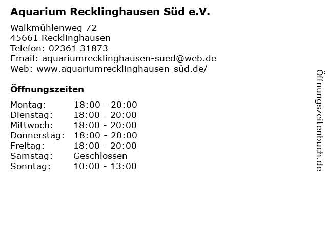Aquarium Recklinghausen Süd e.V. in Recklinghausen: Adresse und Öffnungszeiten
