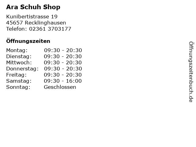 Ara Schuh Shop in Recklinghausen: Adresse und Öffnungszeiten