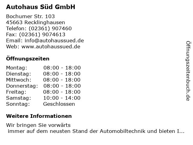 Autohaus Süd GmbH in Recklinghausen: Adresse und Öffnungszeiten