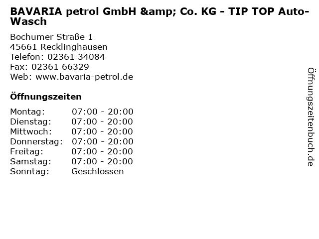 BAVARIA petrol GmbH & Co. KG - TIP TOP Auto-Wasch in Recklinghausen: Adresse und Öffnungszeiten