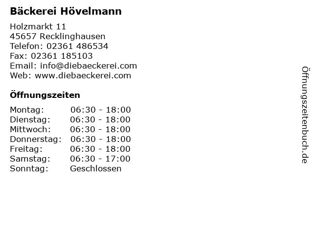 Bäckerei Hövelmann in Recklinghausen: Adresse und Öffnungszeiten