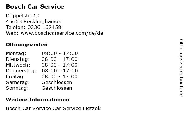 Bosch Car Service in Recklinghausen: Adresse und Öffnungszeiten