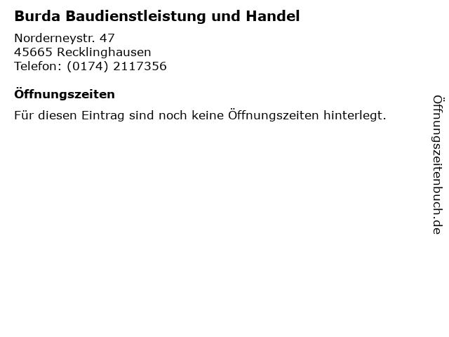 Burda Baudienstleistung und Handel in Recklinghausen: Adresse und Öffnungszeiten