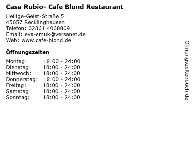Cafe Blond in Recklinghausen: Adresse und Öffnungszeiten