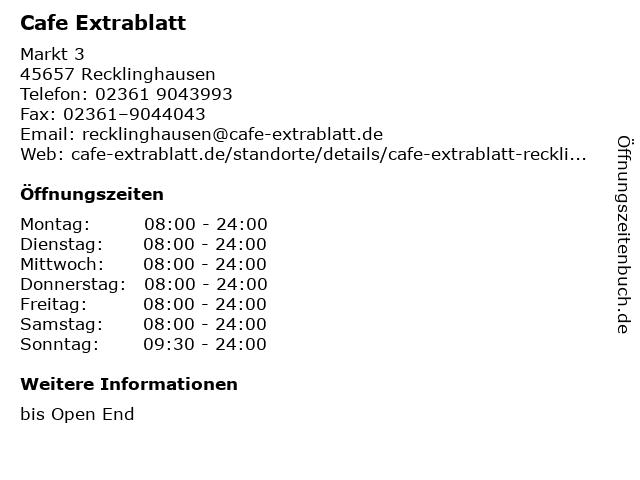 Cafe Extrablatt in Recklinghausen: Adresse und Öffnungszeiten