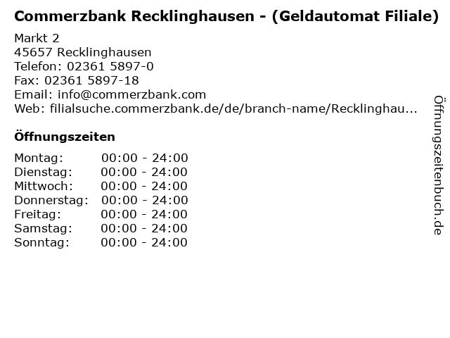 Commerzbank Recklinghausen - (Geldautomat Filiale) in Recklinghausen: Adresse und Öffnungszeiten