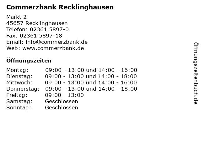 Commerzbank Recklinghausen in Recklinghausen: Adresse und Öffnungszeiten