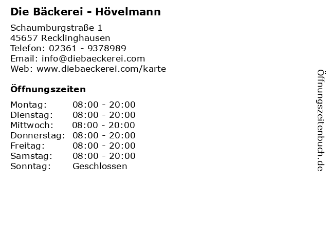 Die Bäckerei - Hövelmann in Recklinghausen: Adresse und Öffnungszeiten