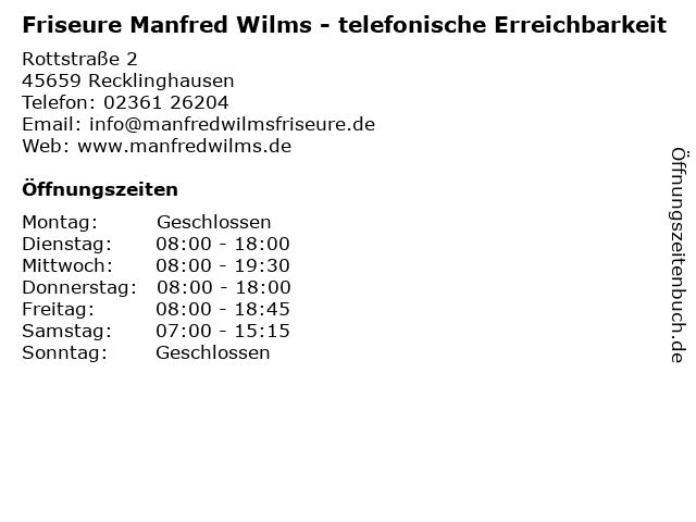 Friseure Manfred Wilms - telefonische Erreichbarkeit in Recklinghausen: Adresse und Öffnungszeiten