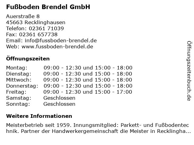 Fußboden Brendel GmbH in Recklinghausen: Adresse und Öffnungszeiten