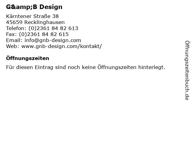 G&B Design in Recklinghausen: Adresse und Öffnungszeiten