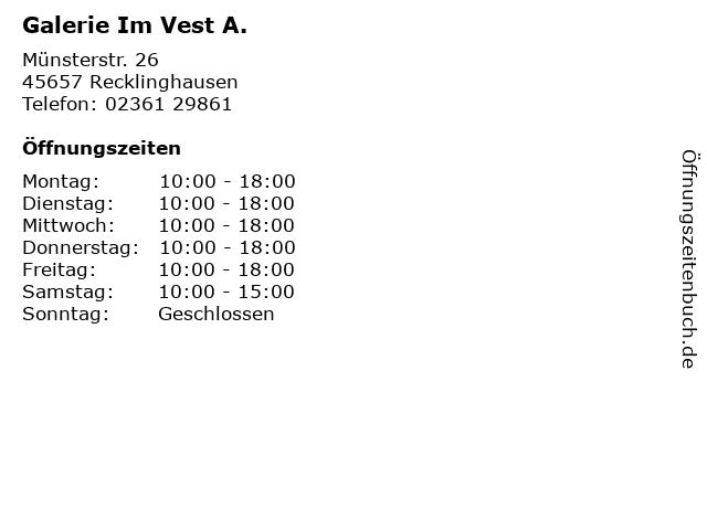 Galerie Im Vest A. in Recklinghausen: Adresse und Öffnungszeiten